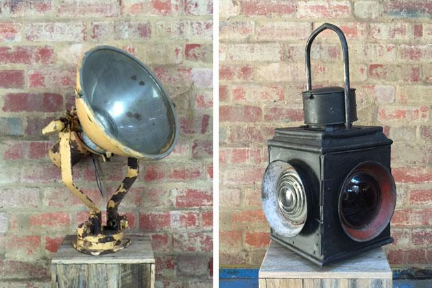 Vintage railway lantern and upcycled lamp
