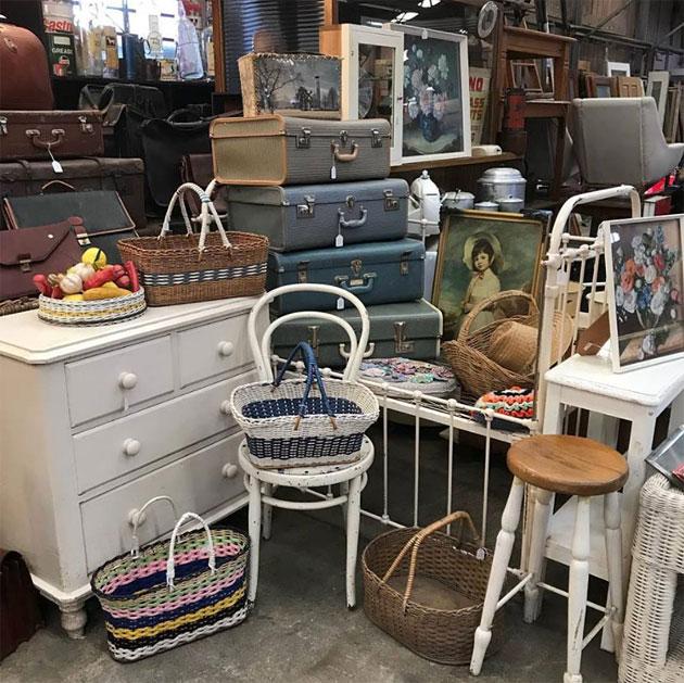 Secondhand furniture, vintage suitcases and vintage homewares, Halsey Road Recyclers, Melbourne