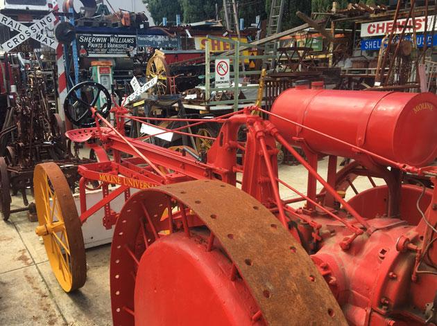 Vintage farm machinery and garden art