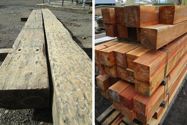Recycled timber beams