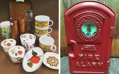 Mid century tableware and 1920s cast iron Melbourne Metropolitan Fire Brigade push button fire alarm box, Lost Ark, Melbourne