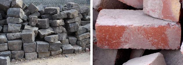 Bluestone and recycled bricks