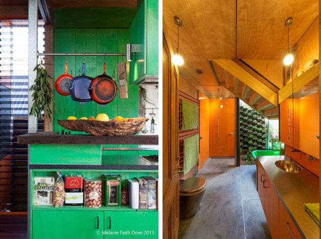 Orange bathroom, green kitchen