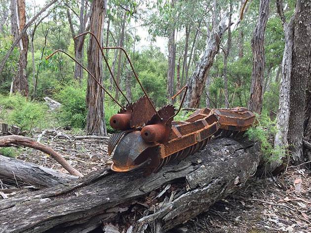 Recycled outdoor garden art, Tread Sculptures, Bend of Islands, Melbourne