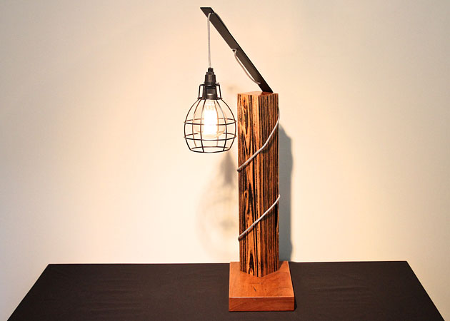 Recycled timber and steel industrial lamp, Crafty Fox Furniture, Sunshine Coast