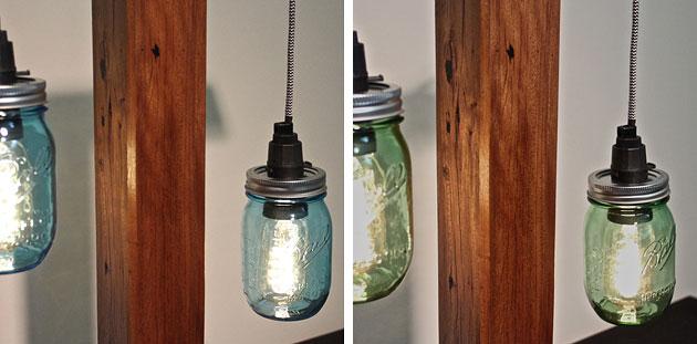 Recycled timber and mason jar lamps, Crafty Fox Furniture, Sunshine Coast.