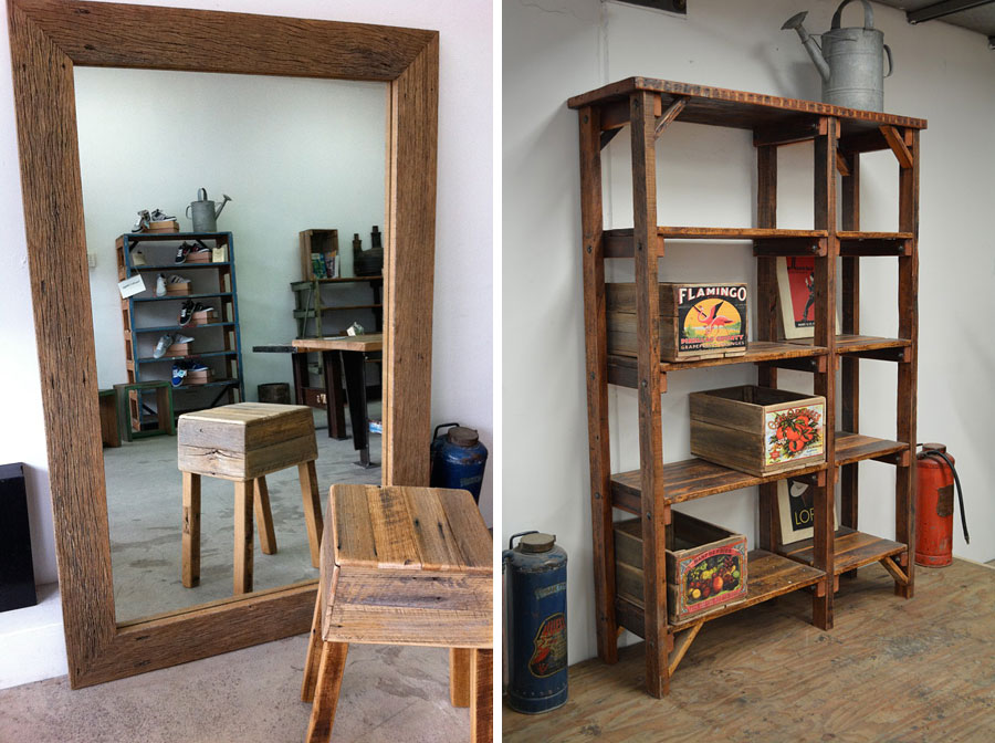 Recycled timber mirror and industrial style shelving, Recycled Lane, Melbourne
