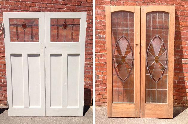 Recycled leadlight doors at Restore Recycle, Bendigo