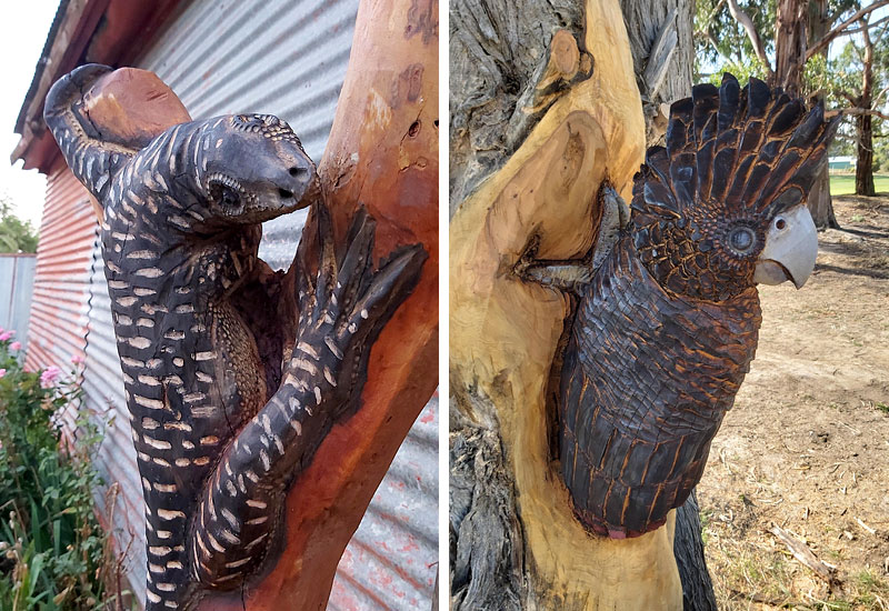 Salvaged logs upcycled to nature playground wildlife sculptures by Raw Boards, Bendigo