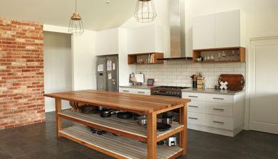 Recycled timber kitchen island bench, Mannagum, Melbourne