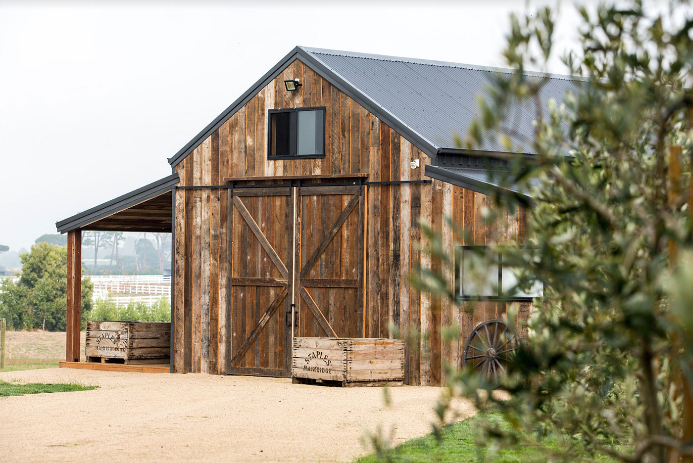Recycled timber cladding in Mornington Peninsula barn