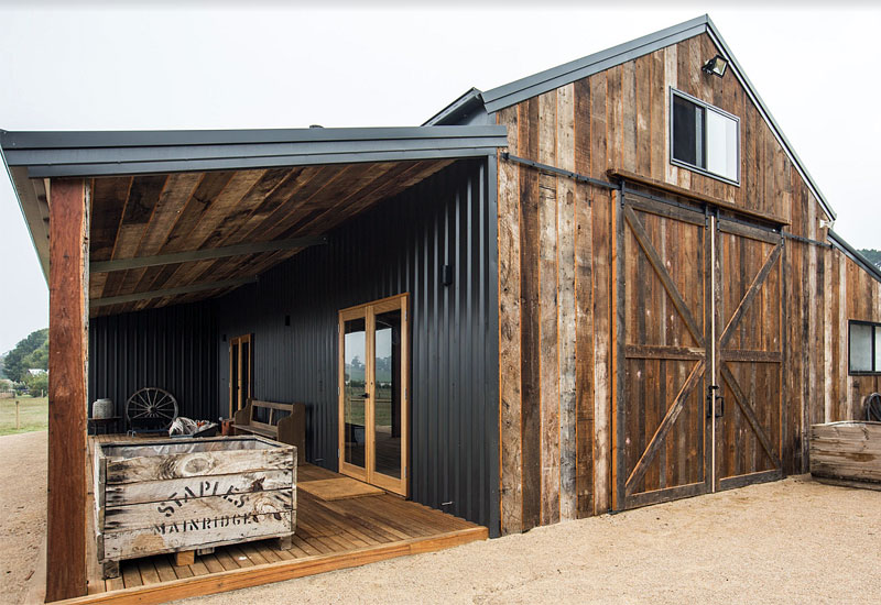 Recycled oregon cladding on Peninsula barn
