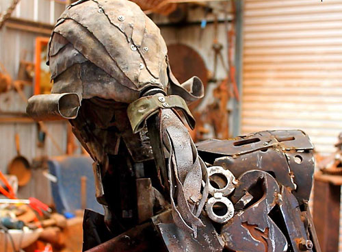 "Wig detail from ""Captain Cook"" scrap metal sculpture by Andrew Whitehead, Urana, Australia"