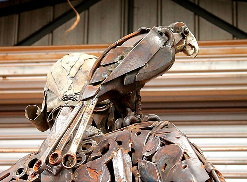 "Parrot detail from ""Captain Cook"" scrap metal sculpture by Andrew Whitehead, Urana, Australia"