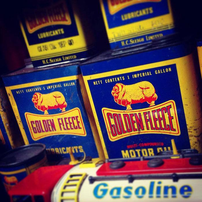 Golden Fleece oil can collectables, Gas Art, Melbourne