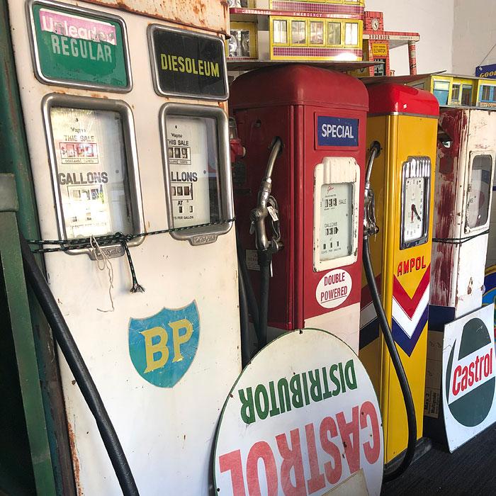 Vintage petrol bowsers, Gas Art, Melbourne