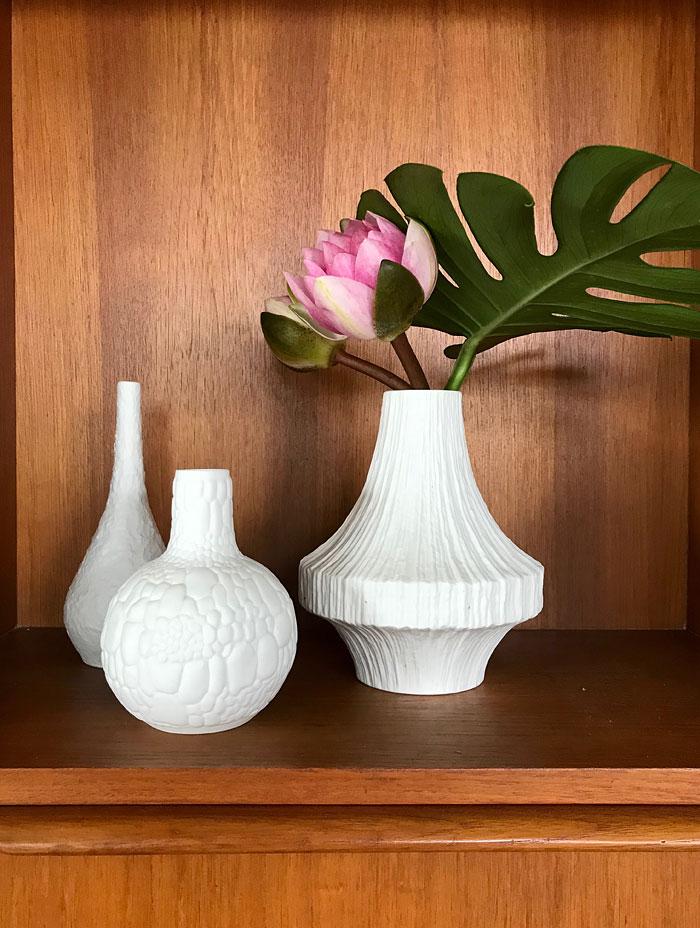 White mid century vases