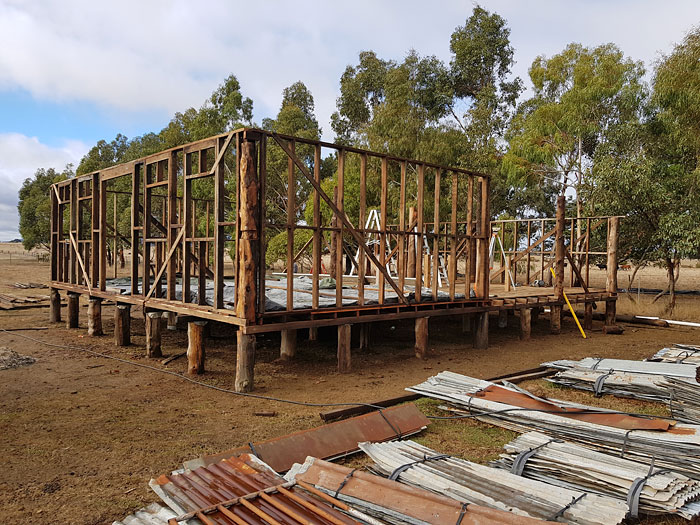 Shearing shed framing. Shed deconstructed, moved and rebuilt from recycled materials, Victoria